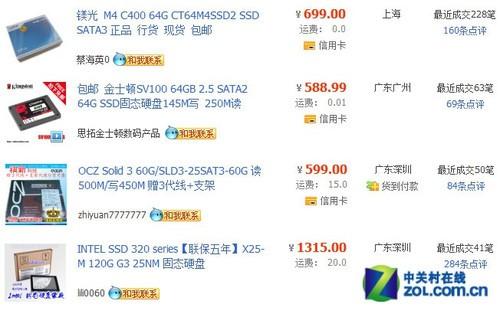 淘宝SSD固态硬盘销量排行